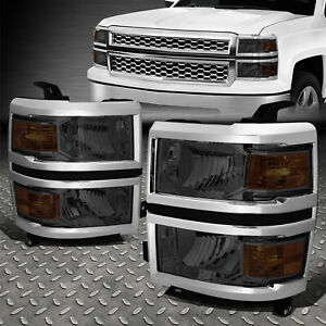 For 14 15 Chevy Silverado 1500 Smoked Housing Amber Corner Headlight Head Lamps
