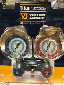 Yellow Jacket 2 Valve Manifold Titan R404a R22 R134a Red Blue Gauges