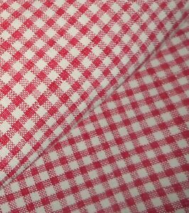 Antique French Small Scale Linen Homespun Plaid Fabric 1 Old Red Cream