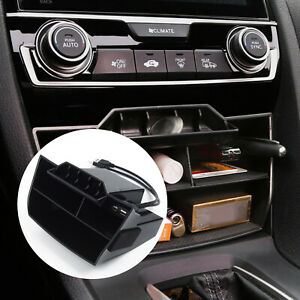 Car Inner Console Central Storage Box With Usb For Honda Civic 2016 2019 Parts