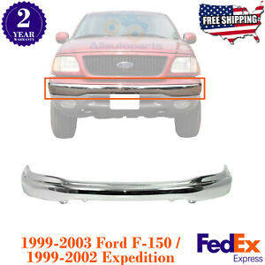 Front Bumper Chrome Steel For 1999 2004 Ford F 150 1999 2002 Ford Expedition