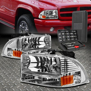 For 97 04 Dodge Dakota Durango Chrome Housing Amber Corner Headlight Tool Set