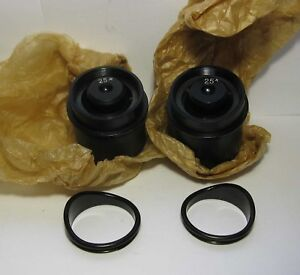 Pair 25x Eyepiece And Eyecup To Microscope Msso Mbs 200 Lomo Zeiss D 40mm