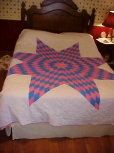 Vintage 1950 60s Quilt Texas Star In Pink And Blue