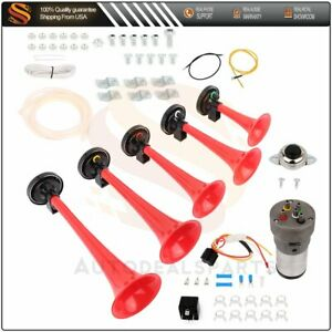 5x Red 12v Abs Trumpets Musical Dukes Of Hazzard Dixie Air Horn Compressor Kit