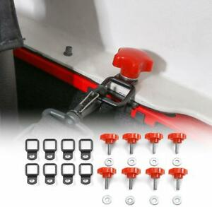 8x Red Hard Roof Screws Quick Removal Bolts Fastener For 07 17 Jeep Wrangler Jk
