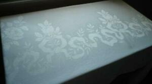 Vintage Linen Double Damask Banquet Tablecloth Ribbons Bows Roses Dots