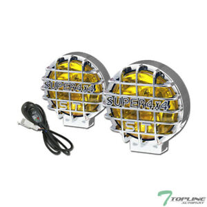Topline For Suv Truck Van 6 Round Yellow 4x4 Grille Fog Lights With Cover Guard