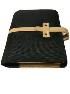 Compact Franklin Covey Leather Binder Basket Weave Black beige Trim 1 Rings