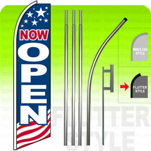 Now Open Swooper Flag Kit Feather Banner Sign 15 Flutter Style Usa Bb