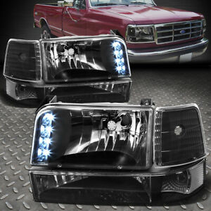 For 92 96 Ford F150 F250 F350 Black Clear Corner Led Drl Headlight Bumper Lamps