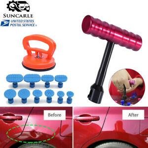 Car Body Paintless Dent Repair Removal Tool Kit Puller Lifter T Bar With 10 Tabs