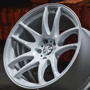 18x10 5 Esr Sr08 Wheels Gloss White 18 Inch 22 5x120 Deep Concave Rims Set 4