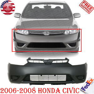 Front Bumper Cover Plastic Primed For 2006 2008 Honda Civic Coupe