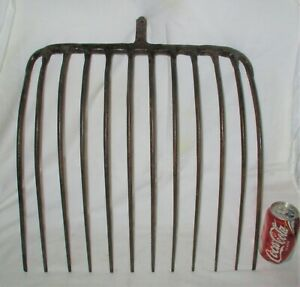 Antique Primitive Country Home Farm Tool 12 Tine Cast Iron Pitch Fork Hay Rake