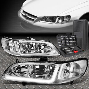 For 98 02 Honda Accord Led Drl L bar Drl Chrome clear Corner Headlights tool Set