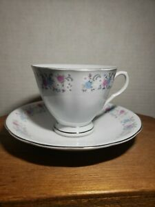 Vintage F T D A Tea Cup Saucer Made In China 1986 Flower Pattern Silver Trim