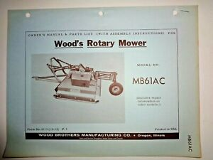 Woods Mb61ac Rotary Mower Cutter Operators Owner Parts Manual Allis Snap Coupler