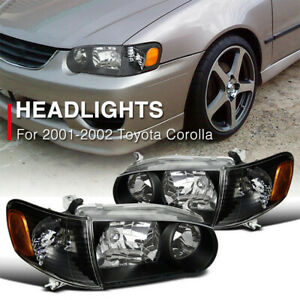 For 2001 2002 Toyota Corolla Headlights Amber Corner Signal Lamps Black Housing