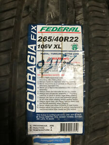 2 New 265 40 22 Federal Couragia F X Tires