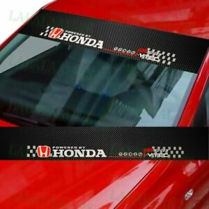 Windshield Carbon Fiber Vinyl Car Window Banner For Honda 53 Logo Decal Sticker