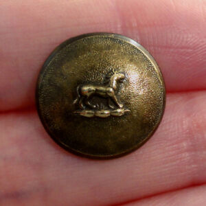 Small Brass Antique Sporting Hunting Button Textured Lion Design Extra Rich