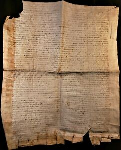 1369 Antique Parchment From The Reign Of King Charles V And Pope Urban V Era