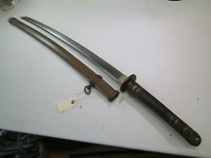 Late Wwii Japanese Officers Samurai Sword With Scabbard Signed And Dated P345