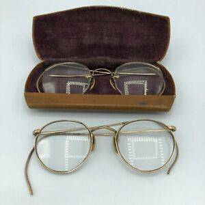 Antique Brass Wire Frame Spectacles Eye Glasses Ful Vue Ao Gold Tone W Case