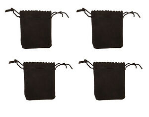 4 Black Genuine Suede Leather 3 Drawstring Pouch Bag Jewelry Coin Renaissance