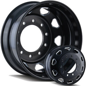 24 5 Black And Milled Semi Dually Wheels Free Shipping Ford Dodge Gmc And Chevy