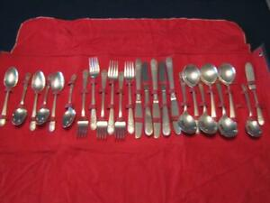 25 Pc Set Rogers Silver Mist Marigold 1935 Silverplate Set As Found