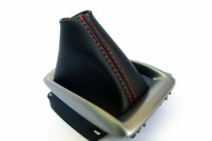 Leather Synthetic Automatic Shift Boot Fits Mazda 3 14 16 Red Stitch