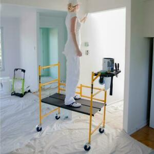 Collapsible Scaffolding Adjust Platform Casters Drywall Painting Rolling Table