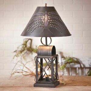 Table Lamp With Punched Tin Willow Shade In Smokey Black Tin