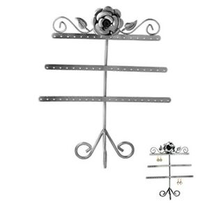 Rose Leaf 3 tier Antiqued Silver Steel Earring Tree Jewelry Display Stand