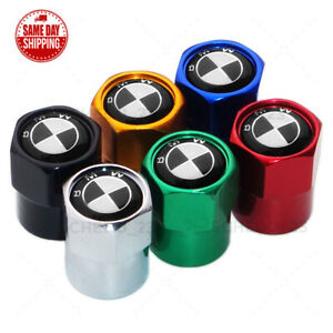 Hex Bmw Black White Emblem Car Wheel Tire Air Valve Cap Stem Dust Cover Sport