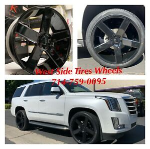24 Dub Baller S216 Black Chevy Tahoe Escalade Gmc Yukon Dodge Tires Tpms Rims