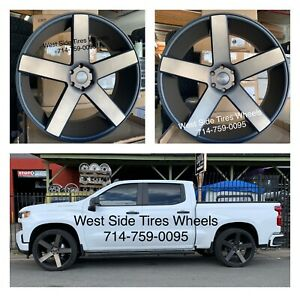 24 Dub Baller S116 Black Tint Wheels Gmc Chevy Escalade Dodge Tires Tpms Rims