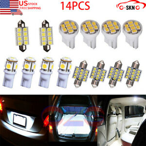 14x Combo Led Car Interior Inside Light Dome Map Door License Plate Lights White