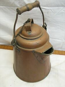 Huge Antique Primitive Solid Copper Coffee Pot Camp Fire Bail 13 Cowboy Camping