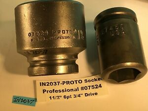 Proto Professional Impact Socket 07524 1 1 2 1 Cp C1 67450 3 4 Drive In2037