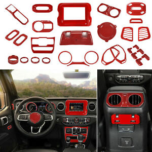 Full Set For 2018 Jeep Wrangler Jl Interior Accessories Cover Trim Kit 7 Red