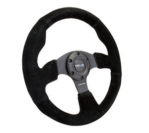 Nrg Steering Wheel 320mm Race Sport Black Suede Black Stitches