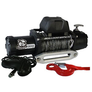 Bulldog 10044 8000lb Winch W 5 2hp Series Wound Motor 100ft Synthetic Rope Alum