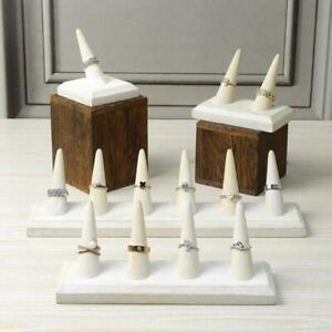 Wooden White Finger Ring Holder Stand Jewelry Display Set
