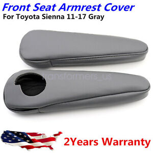 Front Seat Armrest Cover Leather Synthetic For Toyota Sienna 2011 17 Gray 2pcs