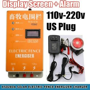 10km Solar Electric Fence Charger Ranch Sheep Cattle Display Screen Alarm