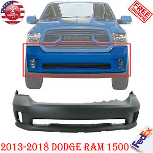 Front Bumper Cover Primed Plastic W o Pas Holes For 2013 2018 Dodge Ram 1500