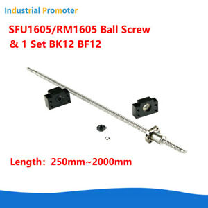 Rm sfu1605 250 2000mm Ball Screw C7 With End Machined nut Bk bf12 End Support